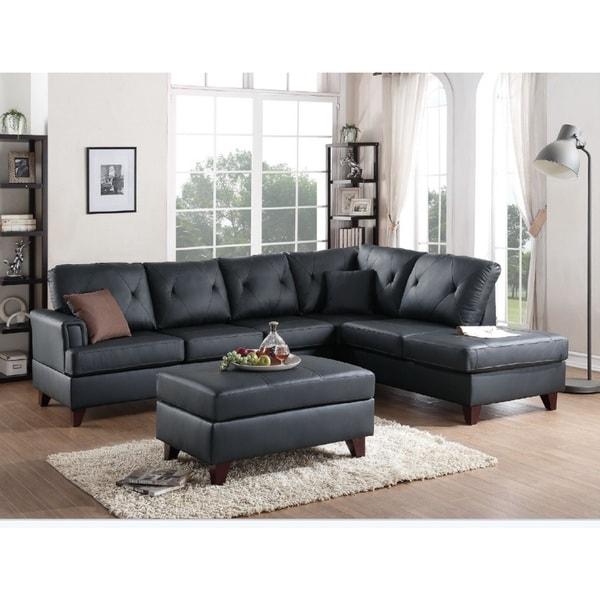 Shop Black Wintersberg 3 Piece Sectional Sofa Set W Ottoman Free