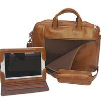 Men's Aged Brown Leather Concealed Carry Briefcase