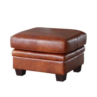 Lazzaro Leather Aberdeen Auburn Ottoman