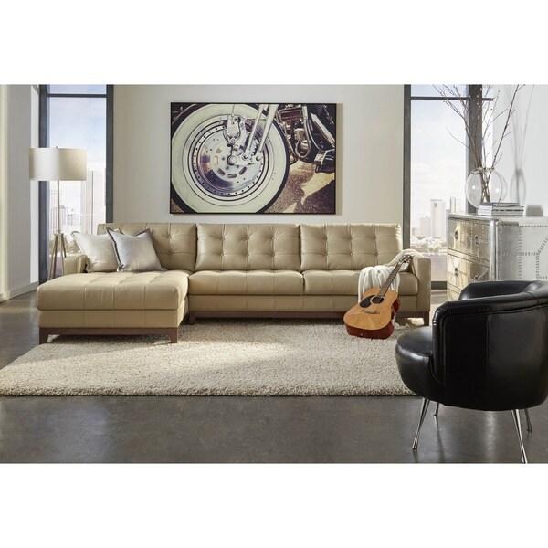 Lazzaro Leather Clayton Taupe Sofa