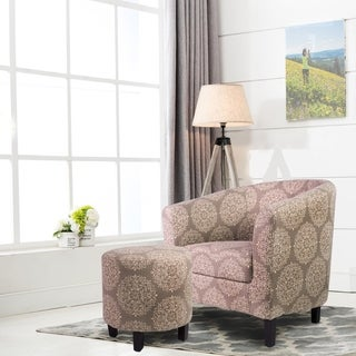 Grey/Teal Cotton Fabric Barrel Chair with Ottoman Set