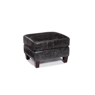 Lazzaro Leather Nathan Charcoal Ottoman