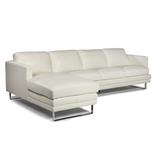 Melbourne Collection White RSF Sofa by Lazzaro Leather