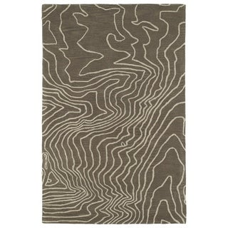Hand-Tufted Artworks Taupe Waves Rug (5'0 x 7'9)