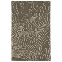 Hand-Tufted Artworks Taupe Waves Rug - 5' x 7'9