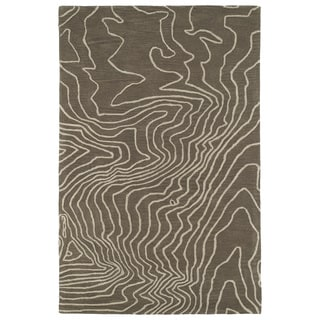 Hand-Tufted Artworks Taupe Waves Rug (3'0 x 5'0)