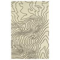 Hand-Tufted Artworks Brown Waves Rug (9'0 x 12'0) - 9' x 12'