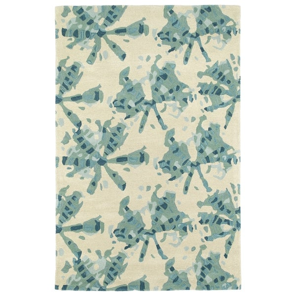 Hand-Tufted Artworks Turquoise Watercolor Rug (2' x 3')