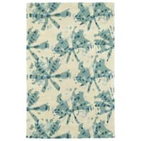 Hand-Tufted Artworks Turquoise Watercolor Rug - 5' x 7'9