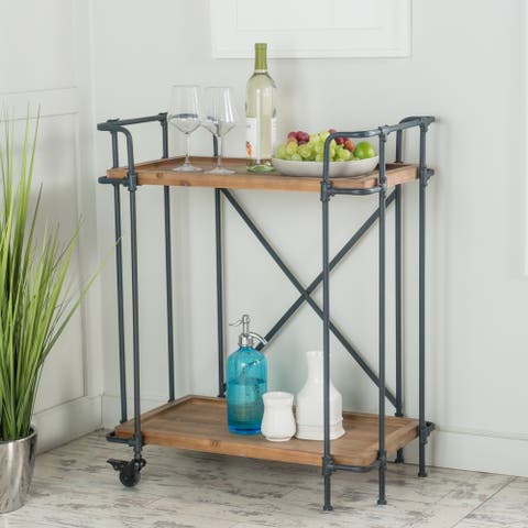 Eden Antique Firwood Bar Cart by Christopher Knight Home