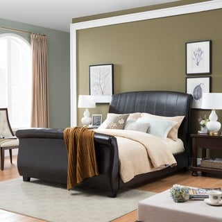 Aladdin Upholstered Bonded Leather Sleigh King Sized Bed Set by Christopher Knight Home