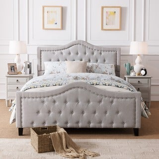 wingback button tufted cream upholstered queen bed - free shipping