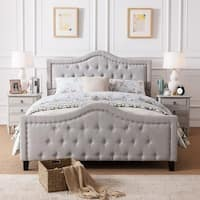 Virgil Upholstered Tufted Fabric Queen-size Bed Set by Christopher Knight Home