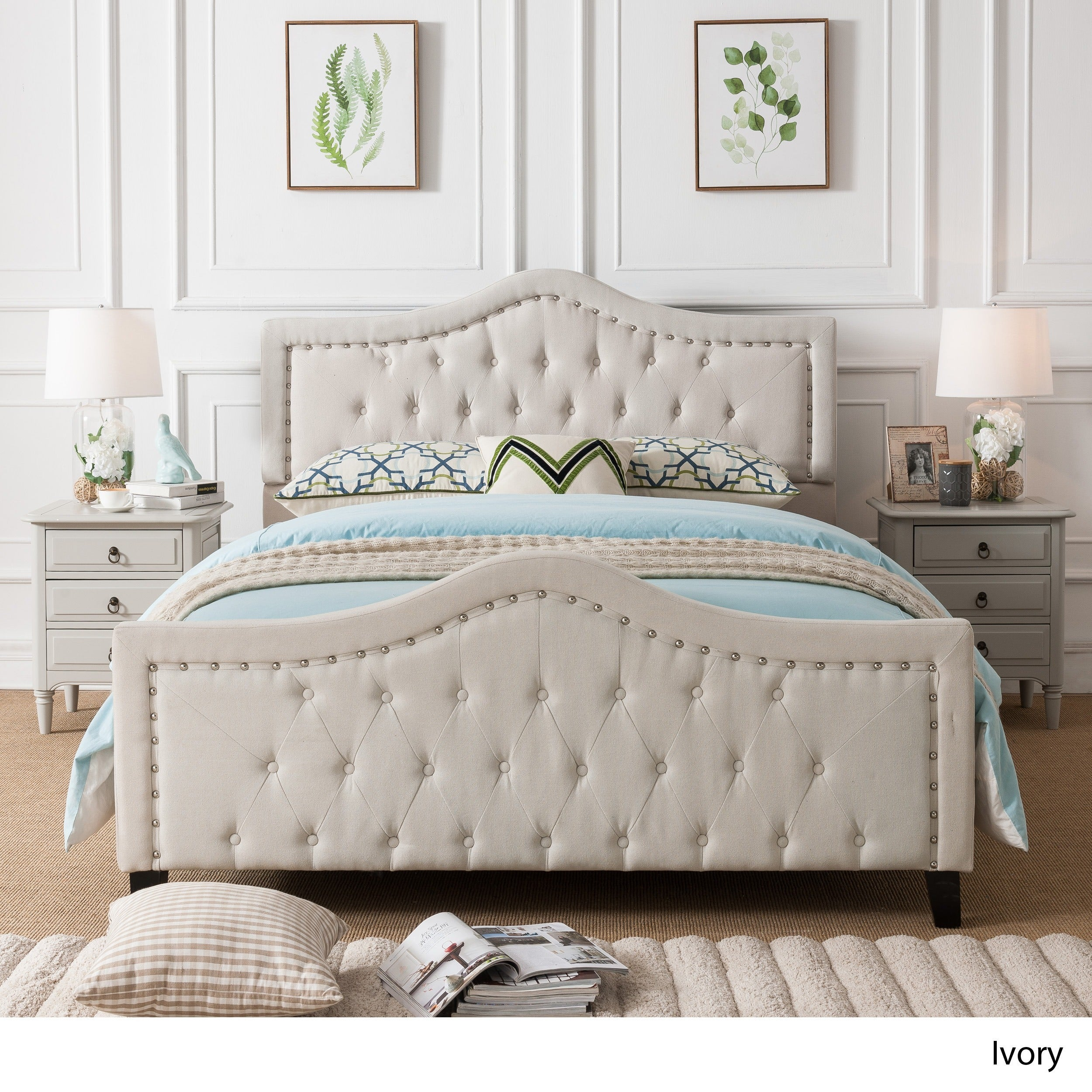 Queen Size Bed: Virgil Upholstered Tufted Fabric Queen-size Bed Set By