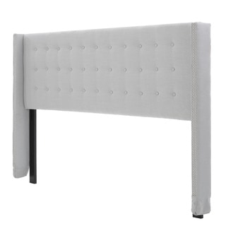 kendrah adjustable king california king wing back studded fabric headboard by christopher knight home