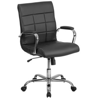 Ashray Black Leatherette Quilted Design Adjustable Swivel Office Chair