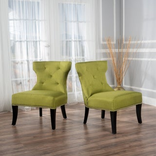 Genevieve Tufted Fabric Accent Chair (Set of 2) by Christopher Knight Home