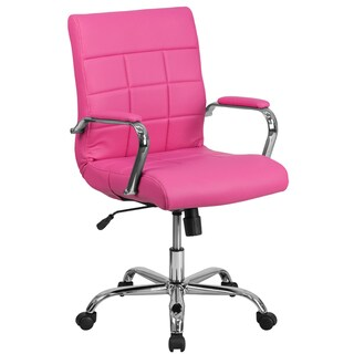 Ashray Pink Leatherette Quilted Design Adjustable Swivel Office Chair