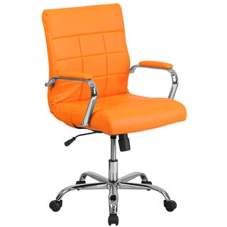 Ashray Orange Leatherette Quilted Design Adjustable Swivel Office Chair