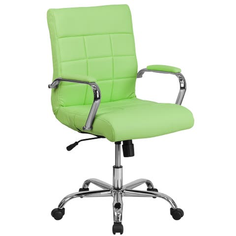 Ashray Green Leatherette Quilted Design Adjustable Swivel Office Chair