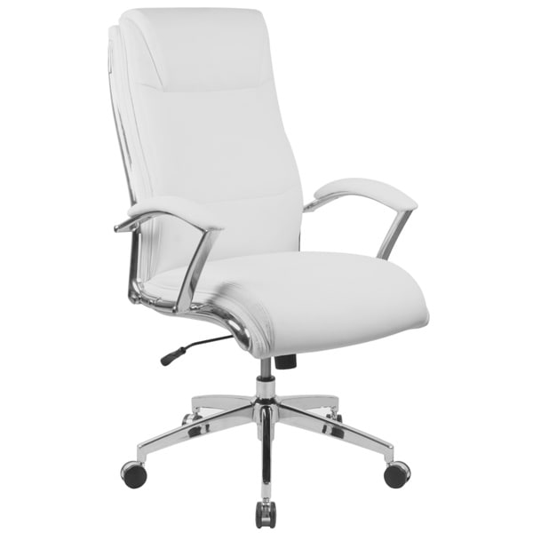 high back white leather executive adjustable swivel office chair with