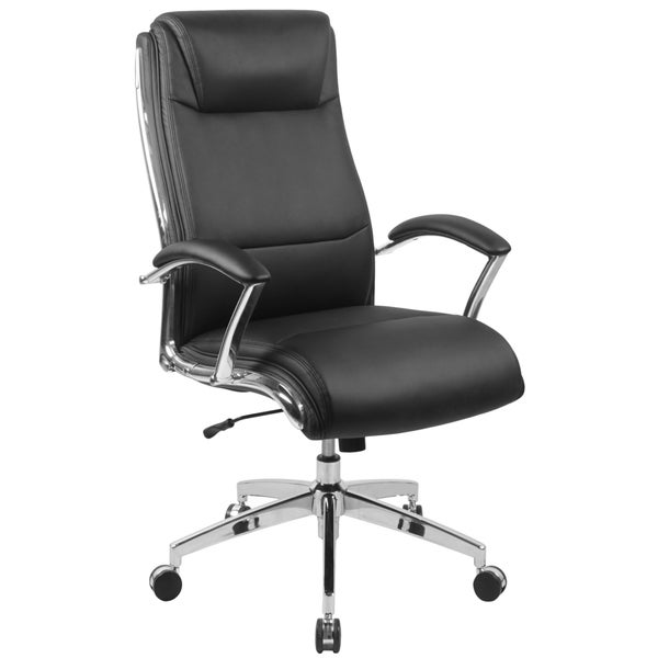 black leather executive adjustable swivel office chair with headrest