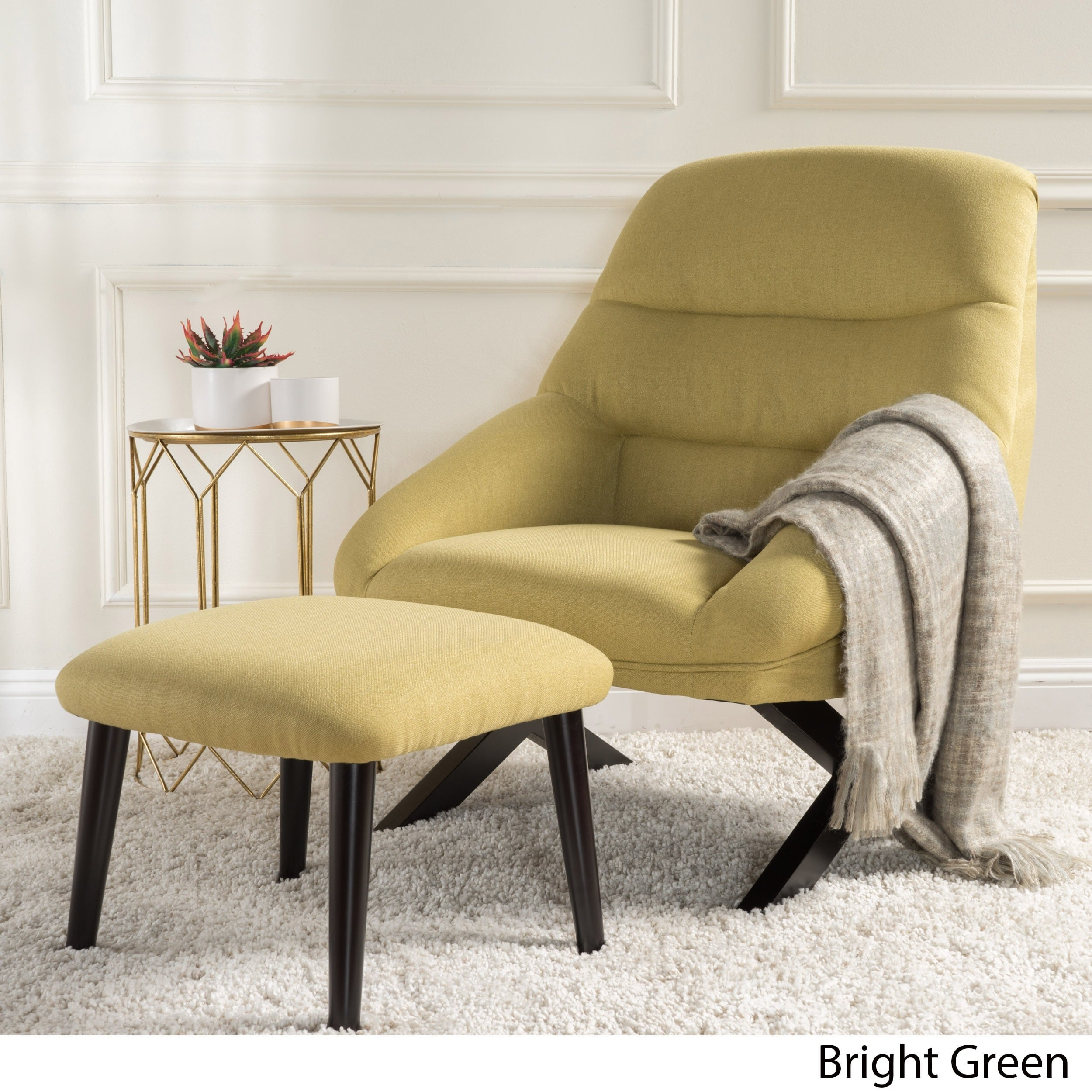 Mathias Mid Century Fabric Accent Chair With Ottoman By Green