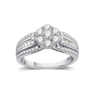 Sterling Silver 1ct TDW Diamond Cluster Engagement Ring (I-J, I2-I3)