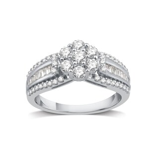 Sterling Silver 1ct TDW Diamond Cluster Engagement Ring - White I-J