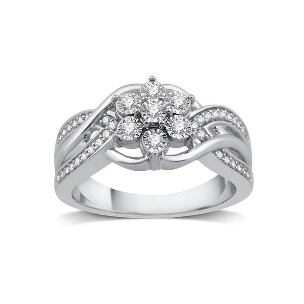 647b06be5bb Shop Sterling Silver 1/4ct TDW Diamond Cluster Flower Swirl ...