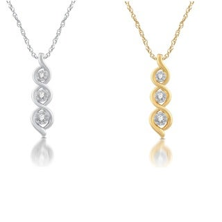 14k Yellow Gold over Sterling Silver 1/6ct TDW Three Diamond Pendant - White I-J (2 options available)