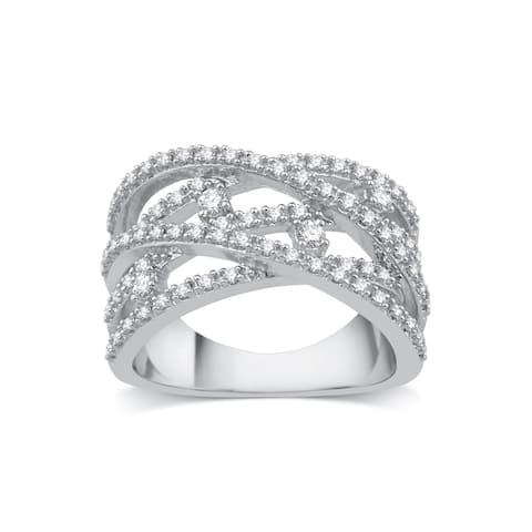10k White Gold 1/2ct TDW Diamond Crossover Ring - White I-J