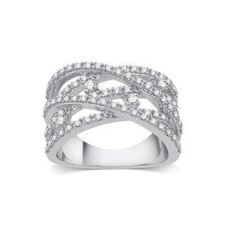10k White Gold 1/2ct TDW Diamond Crossover Ring (I-J, I2-I3)