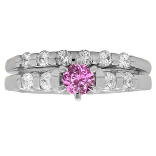 14k Gold 1ct TW Round-cut Pink Sapphire and White Diamond Bridal Solitaire Ring Set (H-I, I1-I2)