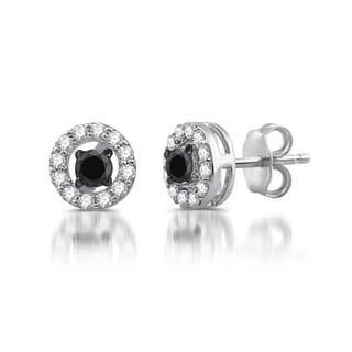 Sterling Silver 1/2ct TDW Black and White Diamond Stud Earrings