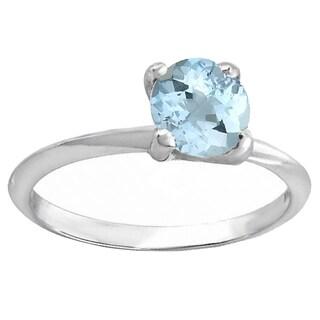 14k White Gold Round Blue Aquamarine Bridal Solitaire Ring