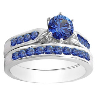 14k Gold 1ct TW Round Blue Sapphire Engagement Ring with Matching Band