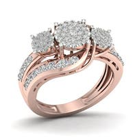 De Couer 10k Rose Gold 1ct TDW Two-Stone Diamond Ring - Pink