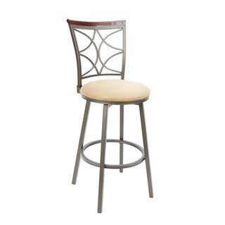 29-inch Decorative Back Swivel Barstool with Straight Legs