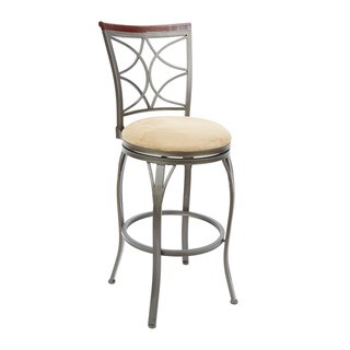Decorative Back Swivel Barstool with Curved Legs