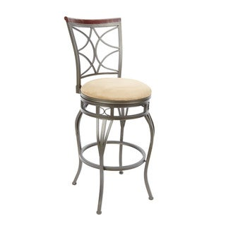 29-inch Decorative Back Swivel Barstool with Curved Legs and Hourglass Seat Ring Accent