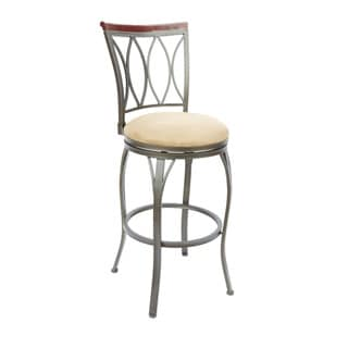 Eyelet Back Swivel Barstool with Curved Legs