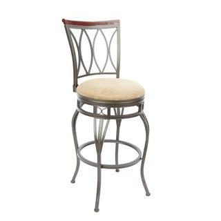 Eyelet Back Swivel Barstool with Curved Legs and Hourglass Seat Ring Accent