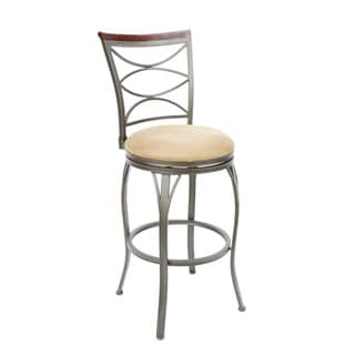 Ellipse Back Swivel Barstool with Curved Legs