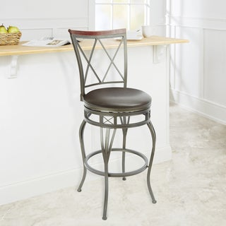 29-inch Diamond Back Swivel Barstool with Curved Legs and X Accent Seat Ring