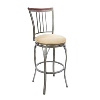 29-inch Slat Back Swivel Barstool with Curved Legs