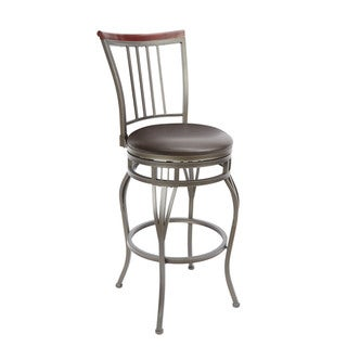 Slat Back Swivel Barstool with Curved Legs and Slatted Seat Ring Accent