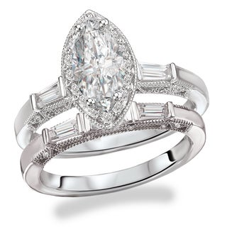 Avanti Rhodium Plated Sterling Silver Cubic Zirconia Marquise Center with Halo Vintage Bridal Set (3 options available)