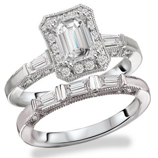 Avanti Rhodium Plated Sterling Silver Cubic Zirconia Emerald Cut Center Vintage Bridal Set