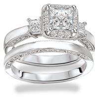Avanti Rhodium Plated Sterling Silver Cubic Zirconia Princess Cut Center with Halo Design Bridal Set